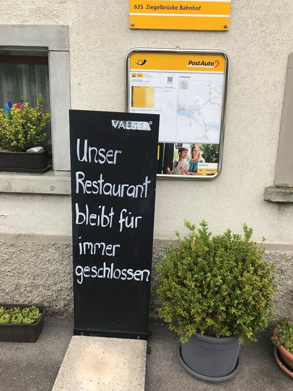 """Traurige Botschaft für alle Gäste des beliebten und hoch gerühmten Restaurants """"Windegg""""."""