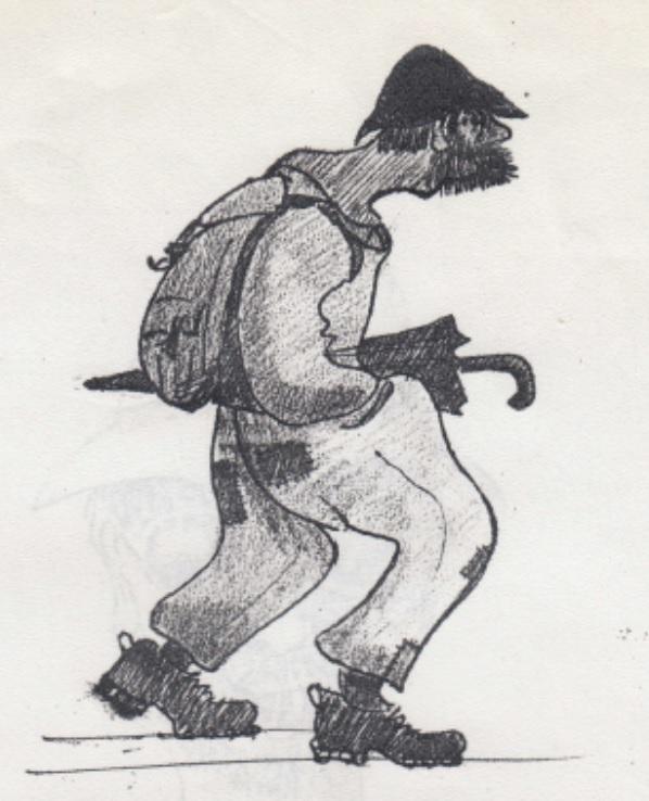 Der Wegmacher. Zeichnung Walter Rentsch sen. Wochenende Freitag 22. - Sonntag 24. Juli 1960. Eintrag ins Hüttenbuch auf Ällenboden.