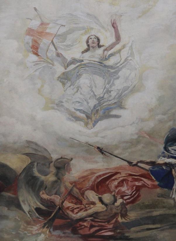 Landrat und Kirchenvogt Fritz Schwyter fährt als Luzifer mit Flügeln (links) zur Hölle.  Racheakt des Kunstmalers Otto Haberer. (Ausschnitt aus Foto Richard Arnold)