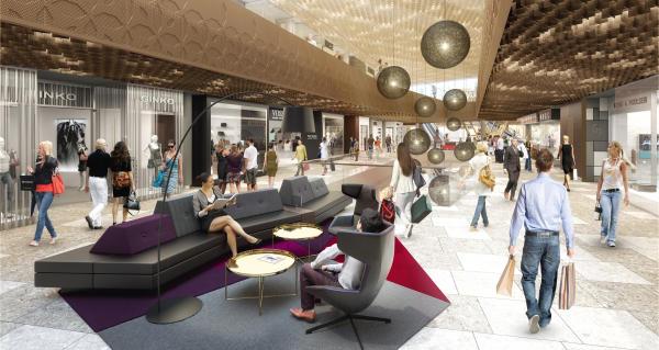 """Ganze """"Strassen"""" führen auf den verschiedenen Ebenen durch das Center, Sitzgruppen laden um Verweilen ein.  (Foto: Mall of Switzerland)"""