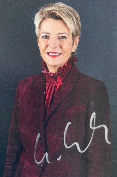 Autogrammkarte von Frau Bundesrat Karin Keller-Sutter
