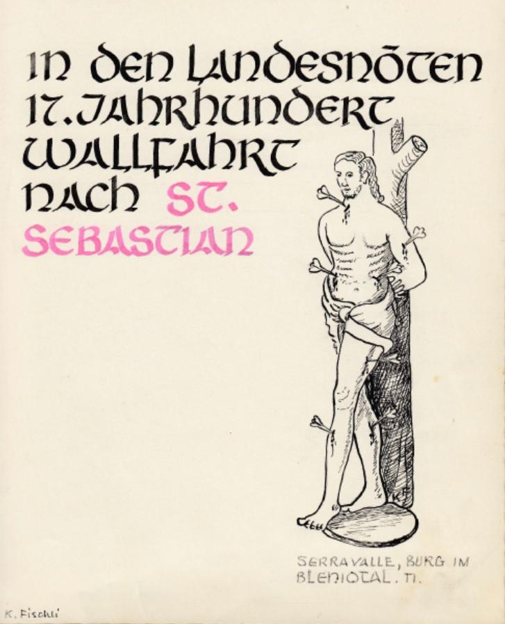"""Titelblatt des von Gottfried Tschudi-Kappeler gestifteten """"Pilgerbuches"""". Gestaltung Koni Fischli."""