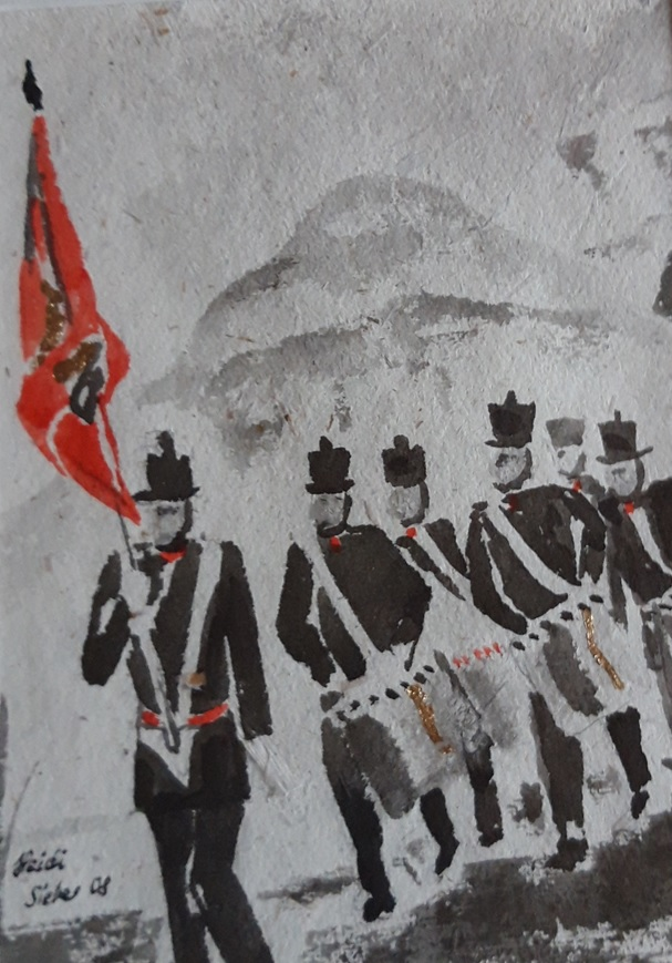 """Seit vielen Jahren mit von der Partie der """"Glarner Tambourenverein Näfels"""" in Milizuniformen von 1840."""