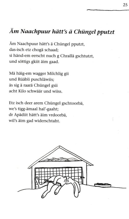 """aus: Hauser Fridolin (alias Fridli Osterhazy alias -y.) Füüfäsächzgmaal """"Frisch vum Fridli"""", Fridolin Verlag 2004 Seite 25"""