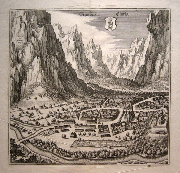 Druckplatte zu diesem Stich aus dem 17. Jahrhundert erhalten. Radierung M. Merian. (siehe unten)