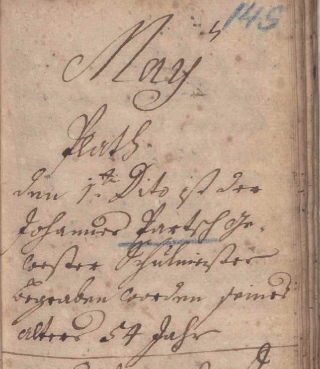 Quelle: Sterbebuch Zellerndorf (1742 - 1757), folio 145