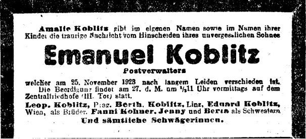 """Traueranzeige aus der Zeitung """"Neue Freie Presse"""" vom 27.11.1923"""