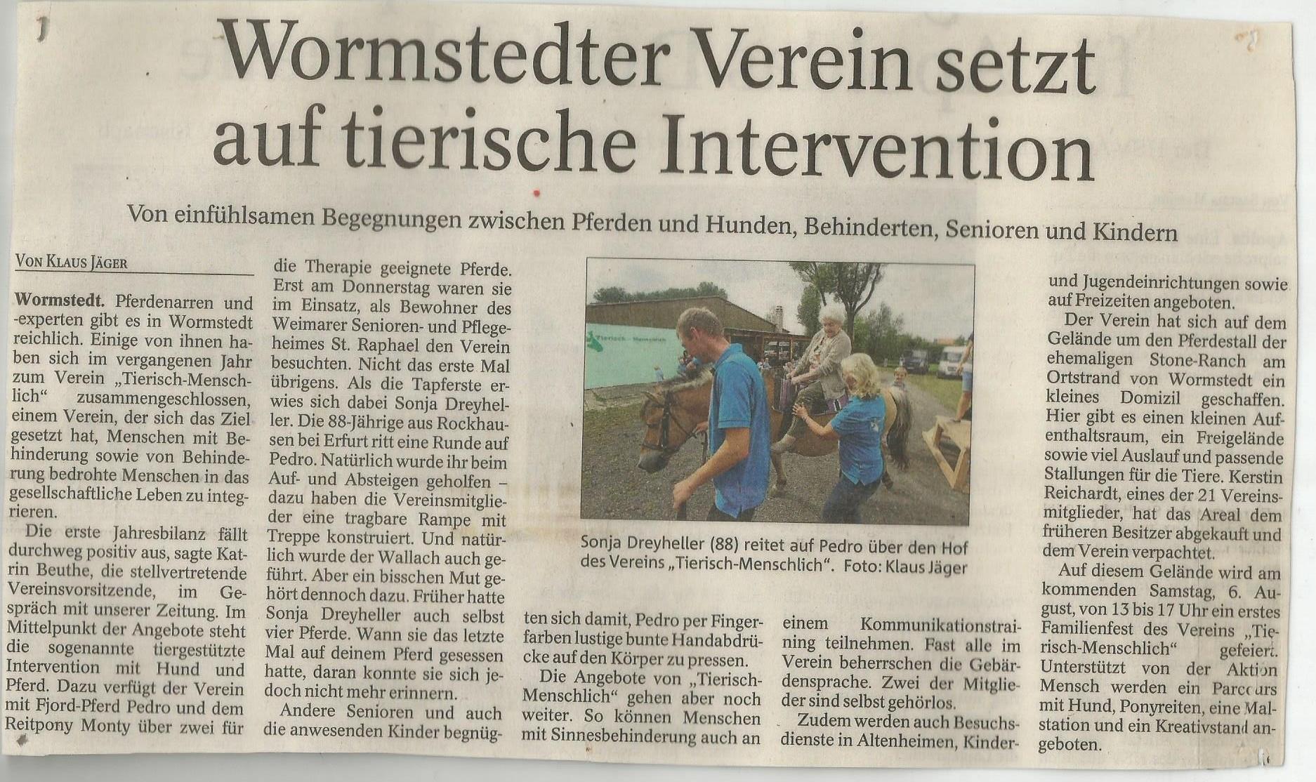 Thüringer Allgemeine vom 30.07.2016
