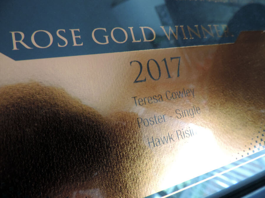 2017 Muse Creative Award Rose Gold certificate close up detail.