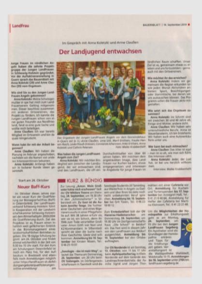 Bauernblatt vom 19.09.2019 Seite 1