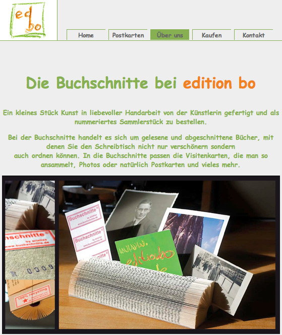 Buchschnitte auf der website von edition bo