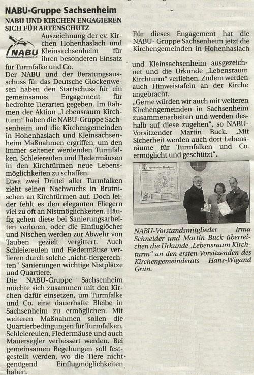 Nachrichtenblatt 2009-1 über Lebensraum Kirchturm Auszeichnung der Kirchengemeinden Kleinsachsenheim und Hohenhaslach