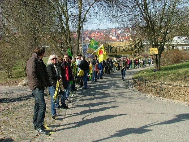 Die Menschenkette durch den Bürgergarten