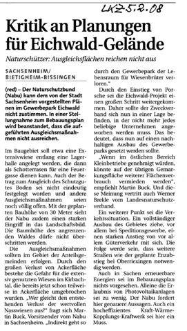 LKZ über Planungen im Gewerbepark Eichwald am 05.02.2008