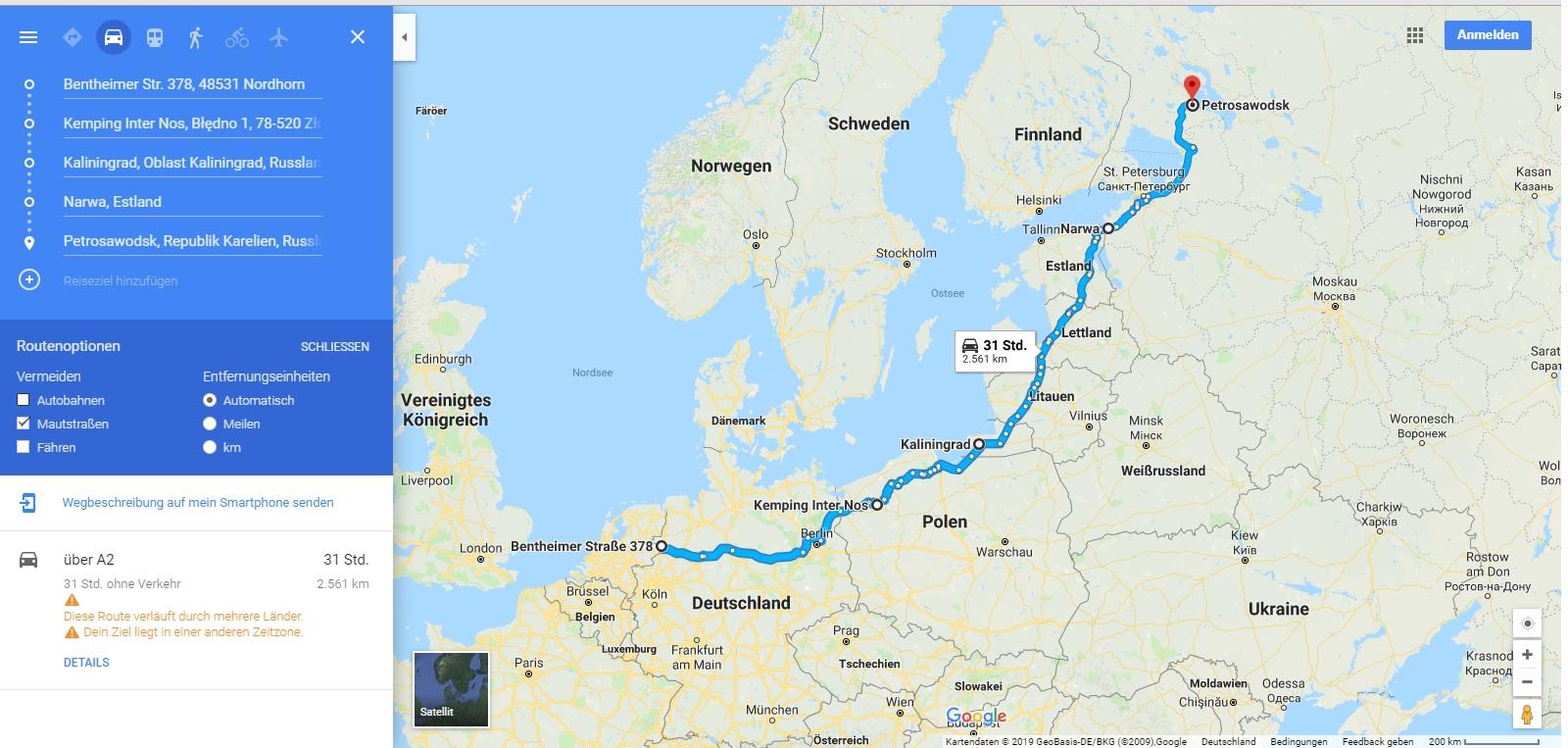 Anreise über Polen, Baltikum und Kaliningrad nach Russland