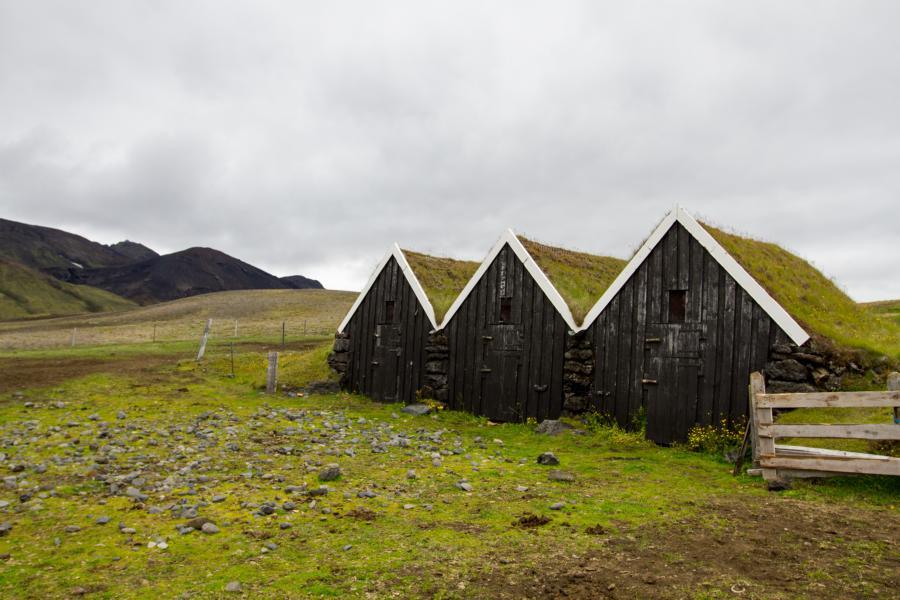 Typisch Isländische Torfhäuser (sieht man aber nur noch sehr selten)