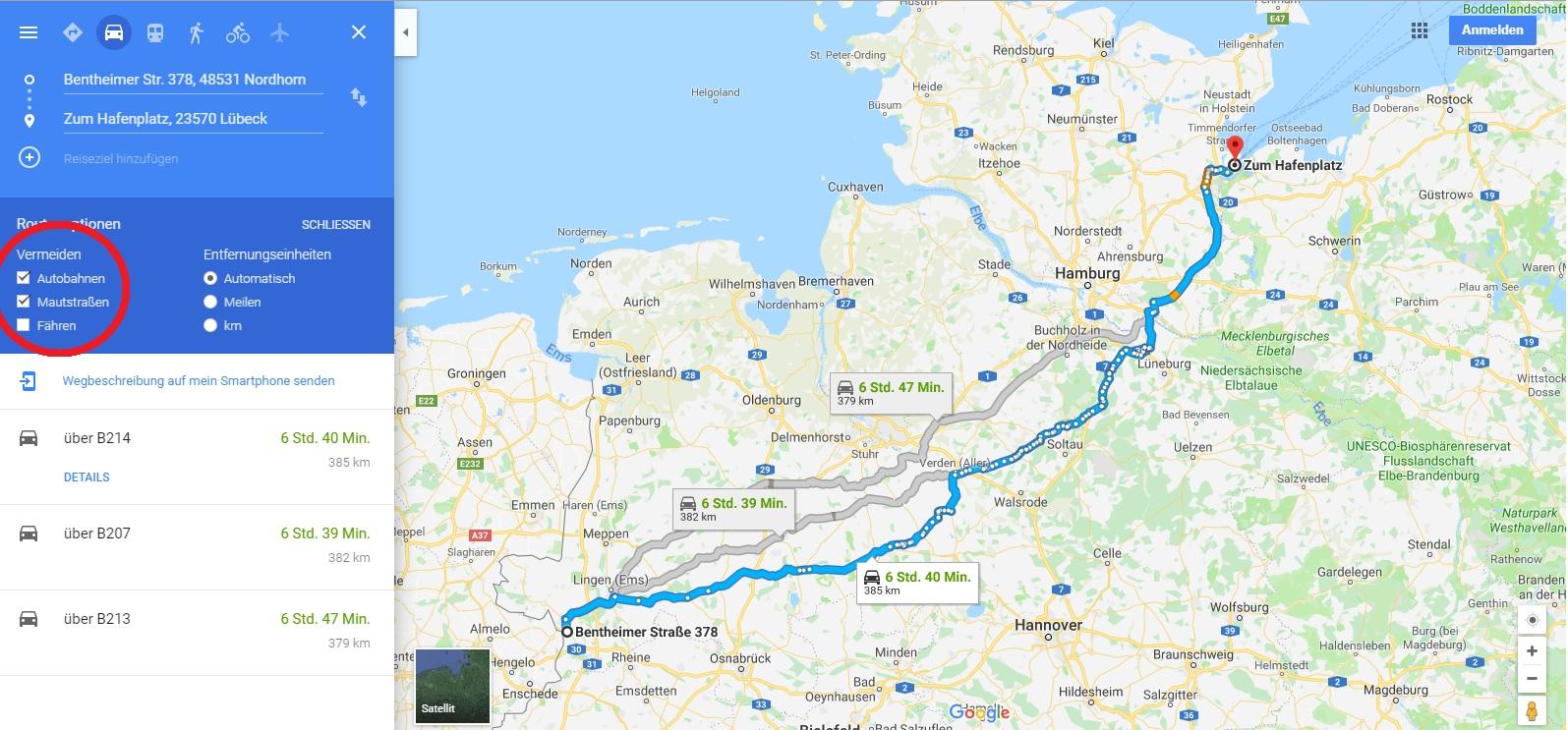 Heimreise von Travemünde nach Nordhorn