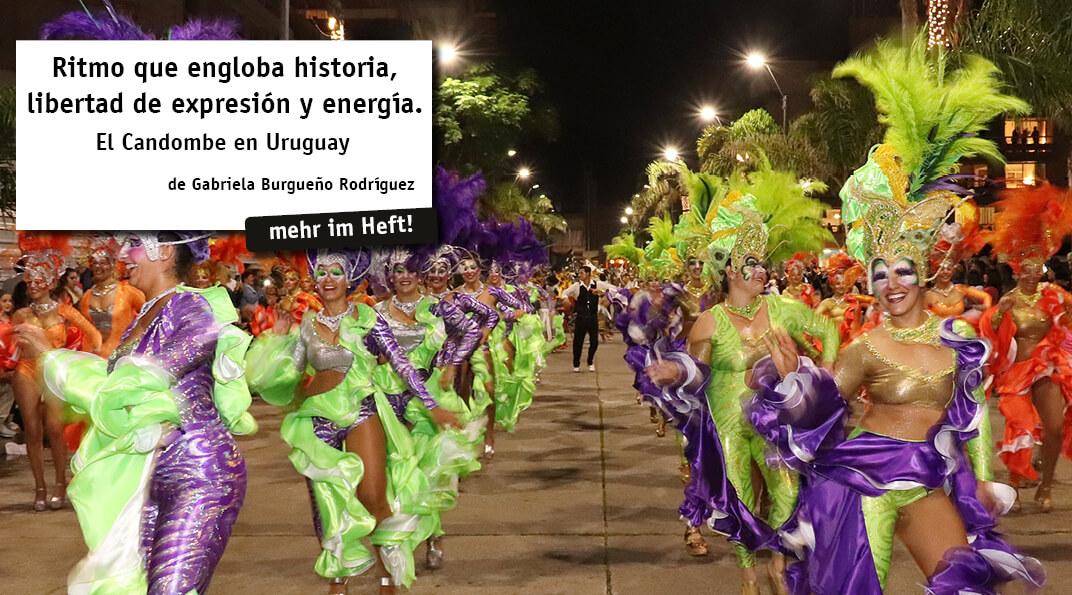 El candombe es la manifestación cultural reconocida por la comunidad afrodescendiente de Uruguay como patrimonio heredado de sus ascendentes esclavos africanos.