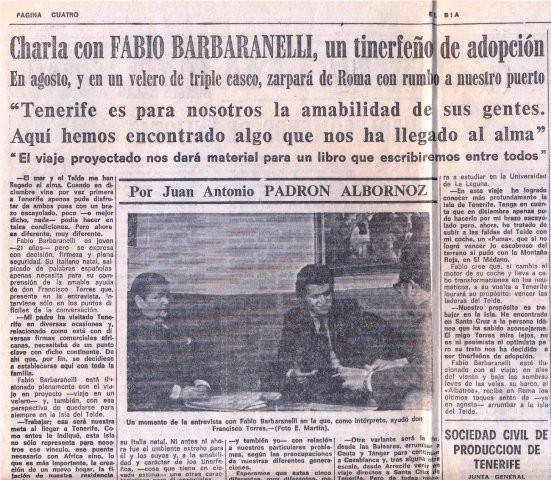 "Interview in the newspaper ""El Dia"" in Santa Cruz de Tenerife - 14.6.1972"