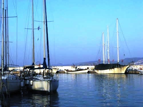 "The gulet ""Federica""  in the marina of Aghios Nikolaos (winter season) - Google Panoramio photo on the right"