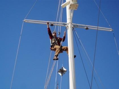 Fabio Barbaranelli controlling the mizen mast