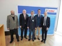 Von links nach rechts: Herr Schenk, BDVI NRW; Herr Schemmer, MdL; Herr Wehmeyer, BDVI NRW; Herr Wüst, MdL und Herr Busshuven, VFB NW.