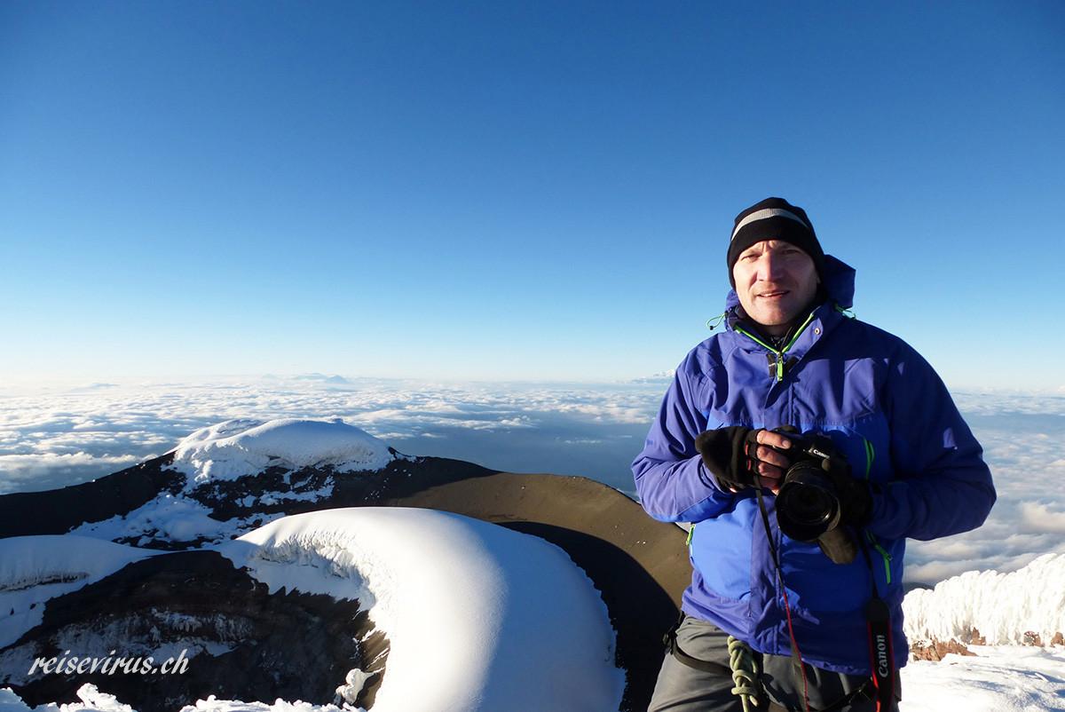 Gipfelfoto auf dem Vulkan Cotopaxi, 5897m, 2013
