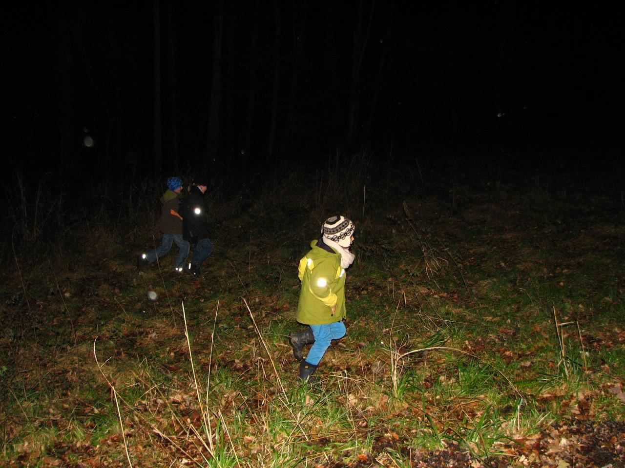Auch die Jungen entdecken etwas in der Dunkelheit