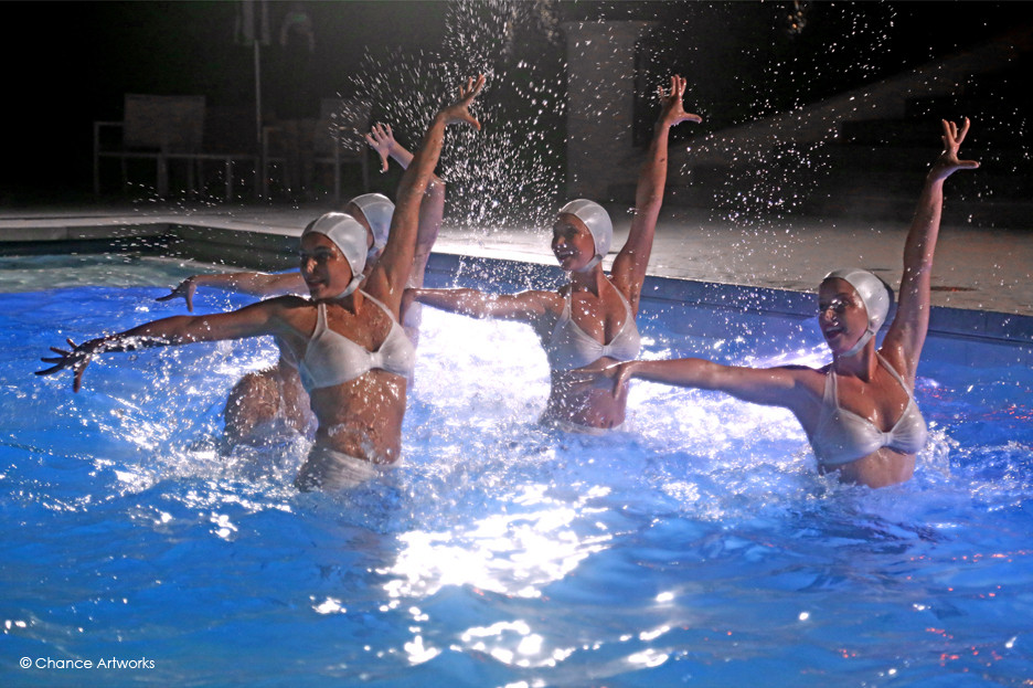 Synchronized swimmers performance.