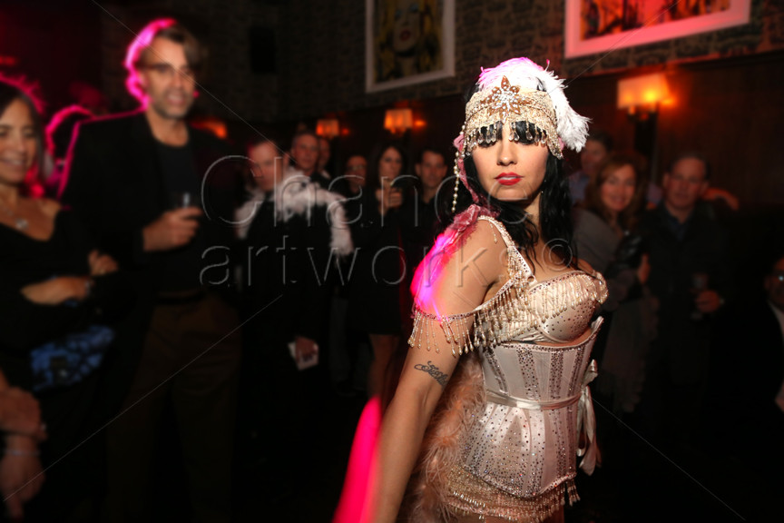 Burlesque performer at holiday party.