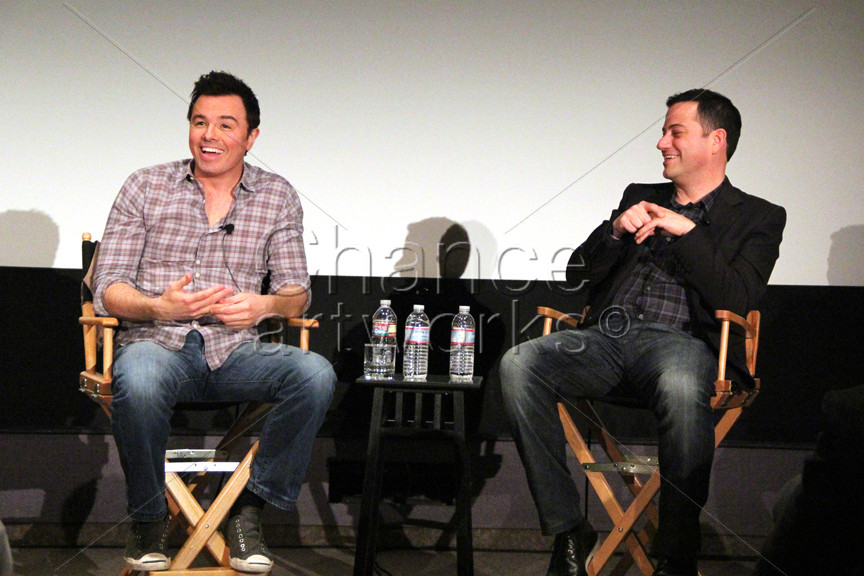 Seth MacFarlane and Jimmy Kimmel panel discussion at private event.