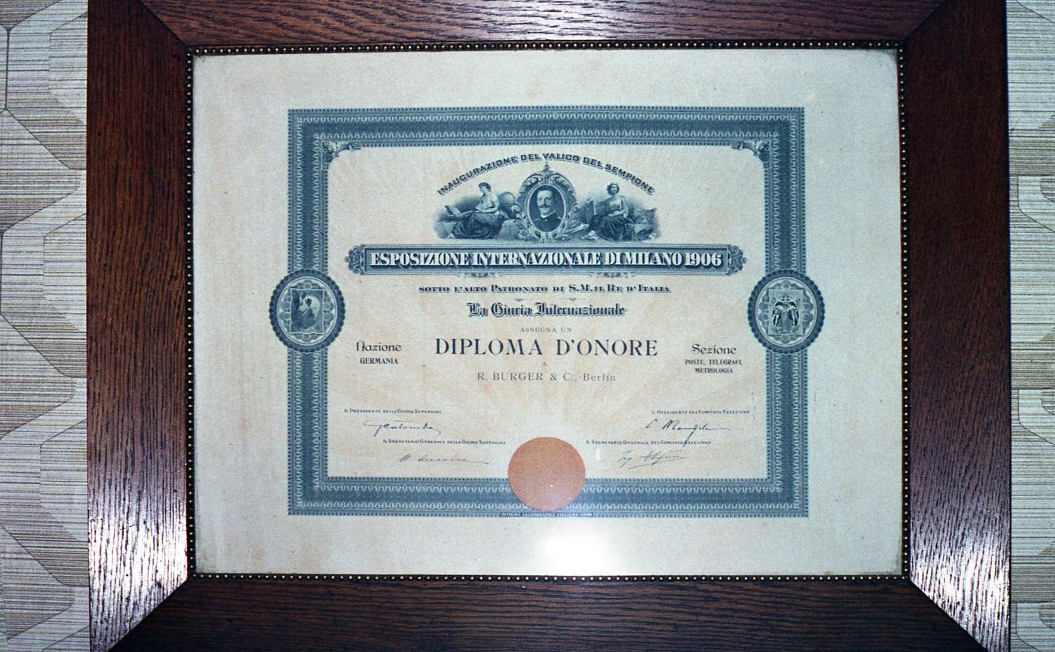 Bild: Urkunde zur Ehrenmedaille Weltausstellung Milano 1906