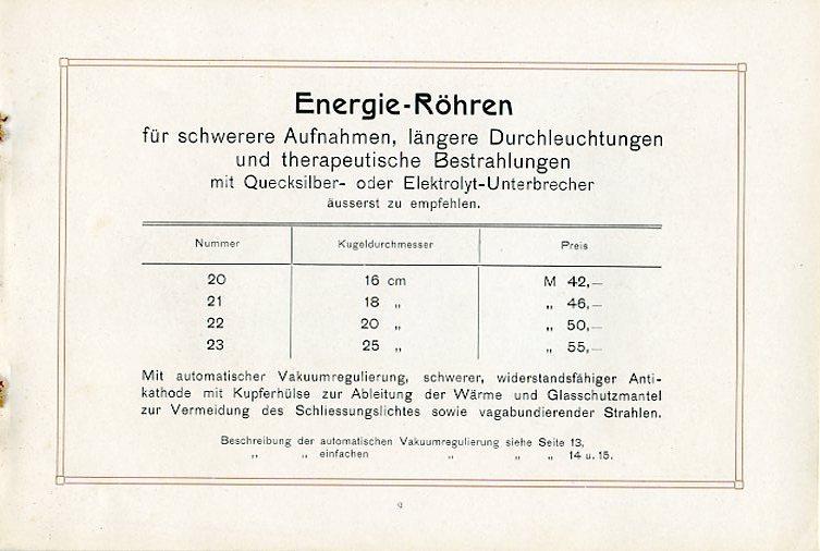 Energie-Röhren mit Wasserkühlung und Preisliste