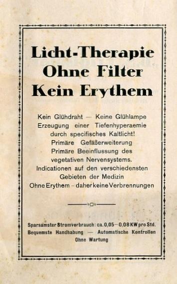 Bild: Deckblatt zur Broschüre mit Erläuterungen und Anwendungsgebiete in der Medizin zum Kalten-Rotlicht