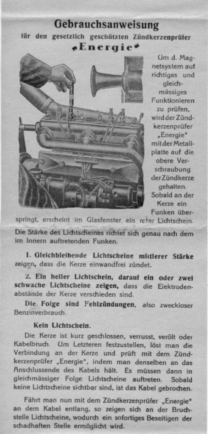 "Gebrauchsanweisung Zündkerzenprüfer ""Energie"" Fa. R. Burger & Co."