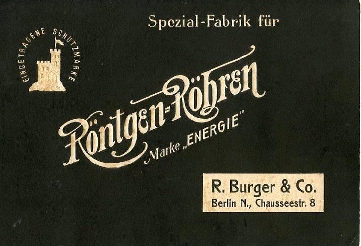 "Bild: Röntgen-Röhren Katalog vor 1911 ""Marke Energie"""