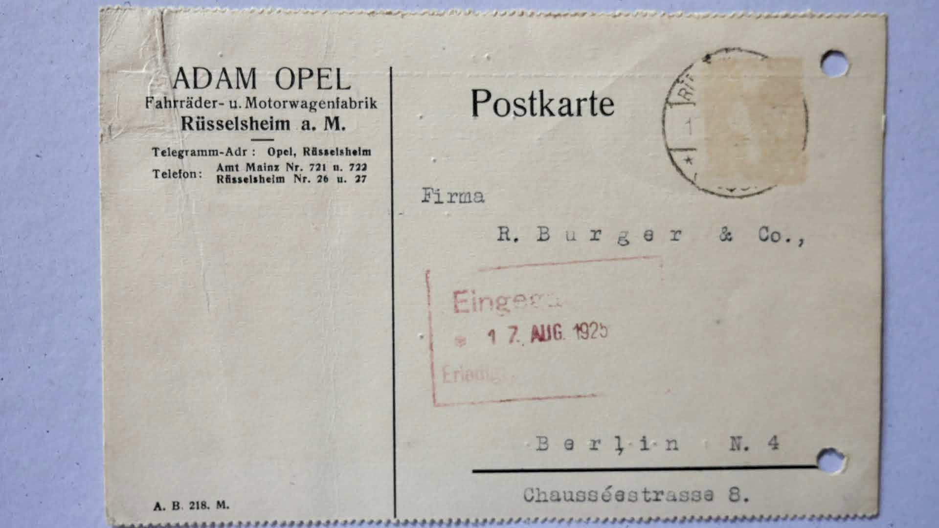 Adam Opel schreibt an Fa. R. Burger & Co. zum Zündkerzenprüfer