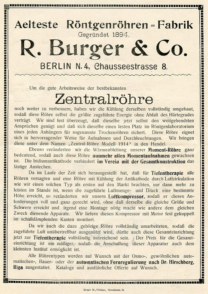 Bild: Werbeprospekt zur Zentralröhre Modell 1914