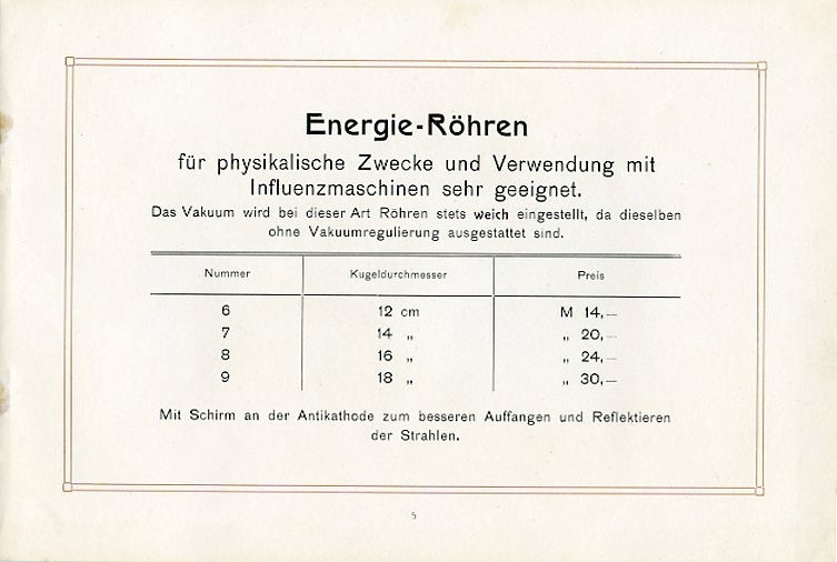 Energie-Röhren mit Preisangaben
