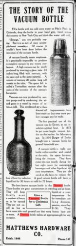 """""""The Story of the Vacuum Bottle"""", Reinhold Burger wird erwähnt von 1913"""