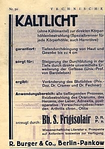 Bild: Werbung für Kaltes Rotlicht in der Beilage zum Berliner Tageblatt