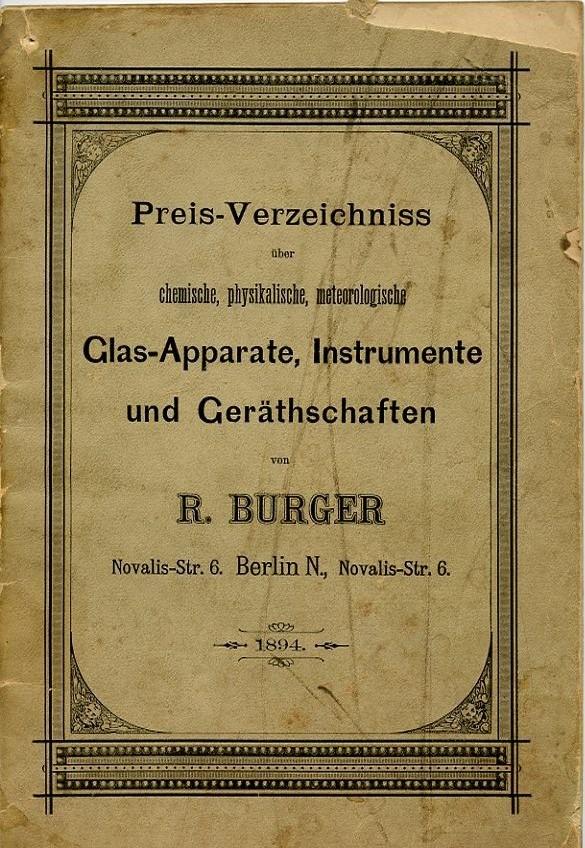 Titelseite des ersten Fertigungskataloges
