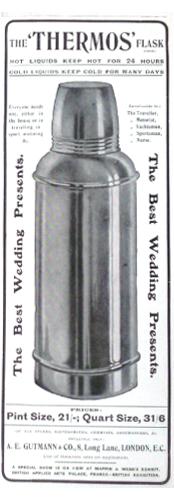 Thermos-Werbung der Fa. A.E. Gutmann Landon ab 1907