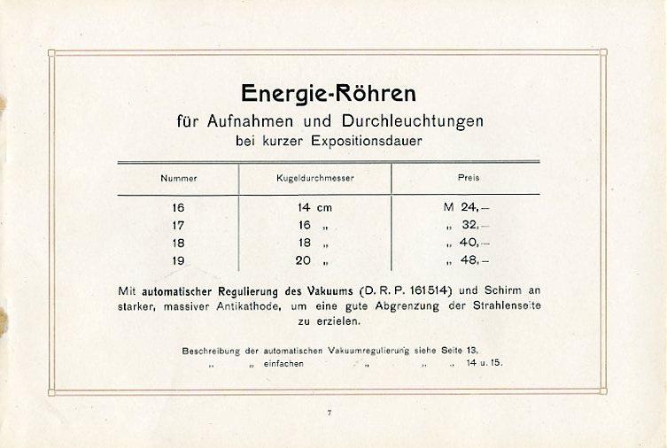 Energie-Röhren mit Kugeldurchmesser und Preisen