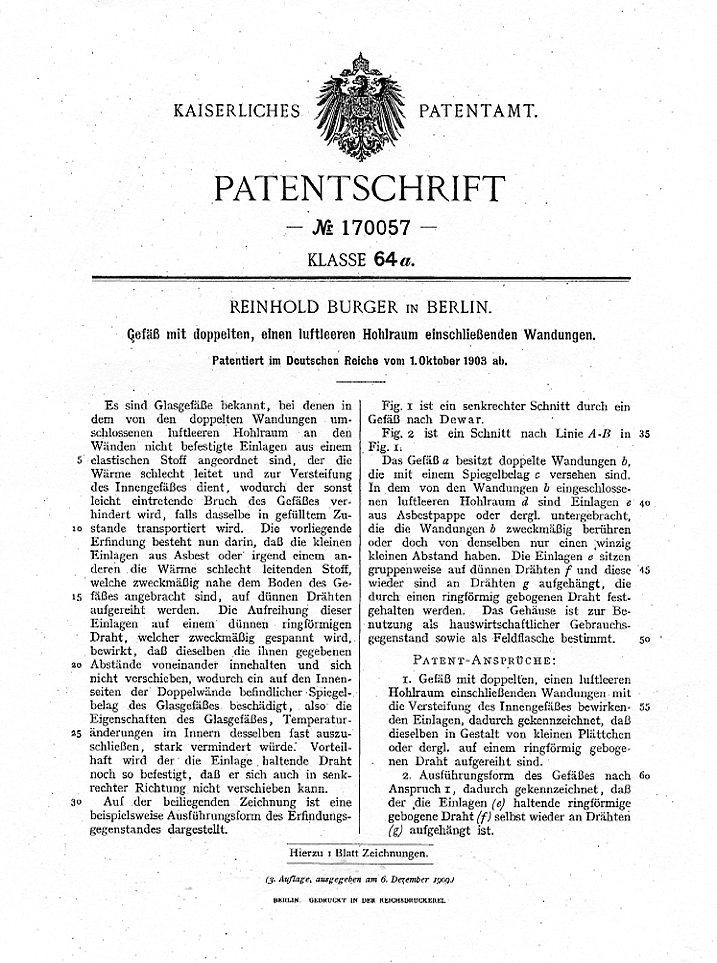 """Patentbeschreibung der Isolierflasche später  """"Thermos"""""""