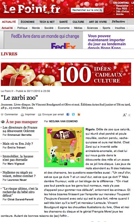 Zarbi Zoo Coup de cœur Le Point