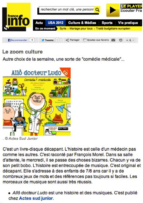 Allo docteur Ludo Coup de cœur France Info