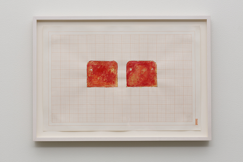 Rachel Whiteread, Untitled (Mattress in Two Parts), 1992, watercolor, ink & correction fluid on graph paper, 30.5 x 45.5 cm (paper)