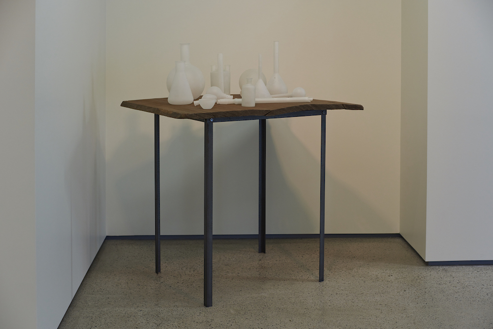 Tony Cragg, UNTITLED, 1987, glass, wood, iron, 103 x 81.5 x 125 cm