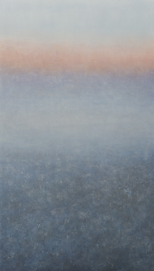 Makoto Ofune, Phase #1, 2018, Powdered mineral pigments  on hemp paper mounted on board, 147.5 x 85 cm (image)